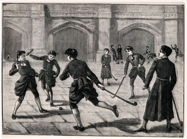 Christ's Hospital, The Bluecoat School Playing Hockey in the Courtyard 1883