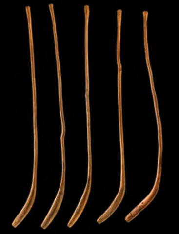 Shinny Sticks made of Oak or Tan Oak, and used by the Northern Pomo People