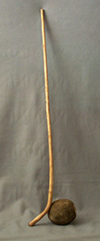 Sioux Plains Indians Shinny Stick and Bison Wool-filled Ball
