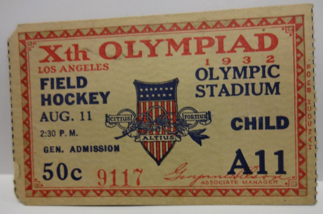 1932 Summer Olympic Field Hockey Ticket - Gold Medal Game