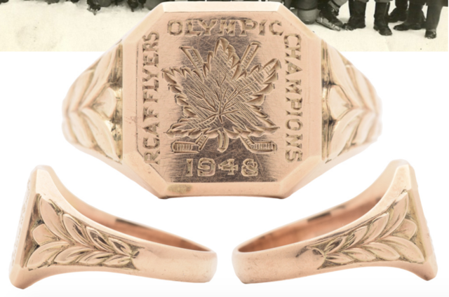 RCAF Flyers Olympic Champions 1948 Gold Hockey Ring presented to Pete Leichnitz