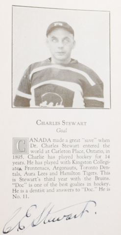 "Charles ""Doc"" Stewart Boston Bruins 1926"