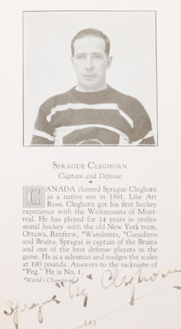 "Sprague ""Peg"" Cleghorn Boston Bruins 1926"