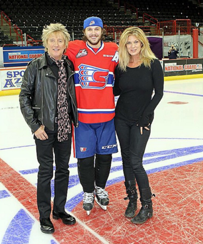 Rod Stewart, Liam Stewart & Rachel Hunter 2014 Spokane Chiefs