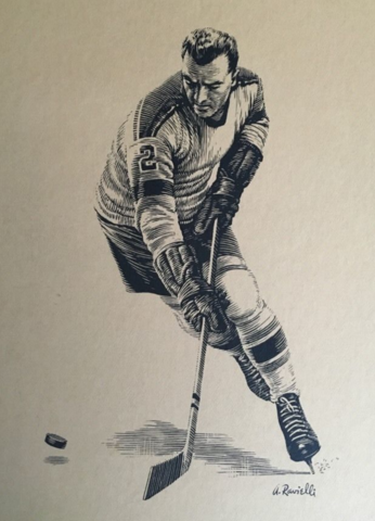 Anthony Ravielli Scratchboard Hockey Art - late 1950s