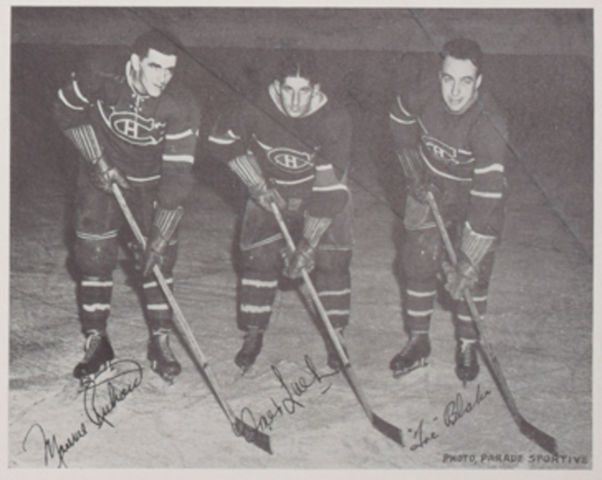 Montreal Canadiens Punch Line of Maurice Richard, Elmer Lach & Toe Blake 1940s