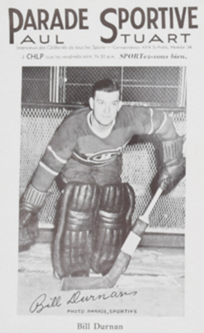 Parade Sportive Photo Card of Montreal Canadiens Bill Durnan 1940s