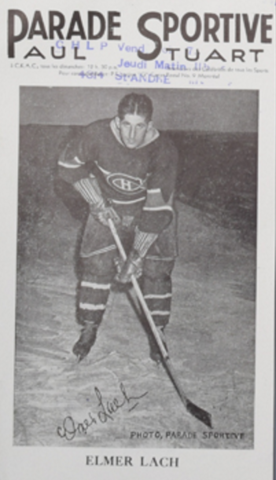 Parade Sportive Photo Card of Montreal Canadiens Elmer Lach 1940s