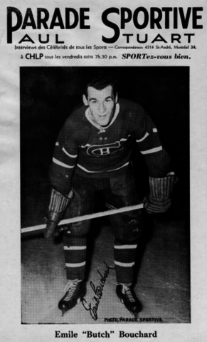 "Parade Sportive Photo Card of Montreal Canadiens Emile ""Butch"" Bouchard 1940s"