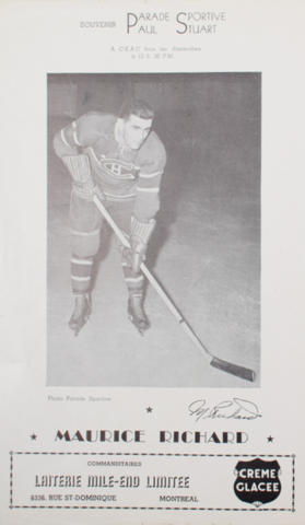 Parade Sportive Photo Card of Montreal Canadiens Maurice Richard 1940s