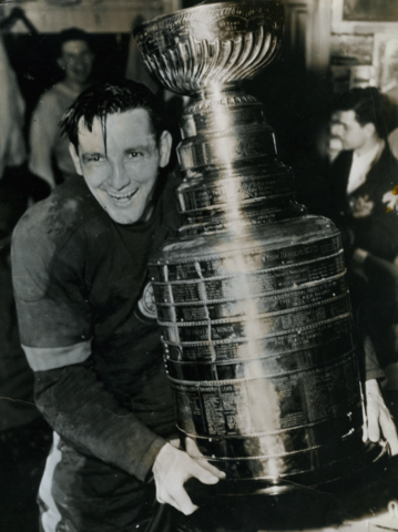 Detroit Red Wings Captain Sid Abel Happily Holds The Stanley Cup April 23,1950