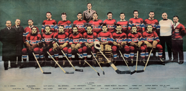 Montreal Canadiens Team Photo 1939 from La Presse and Colourized
