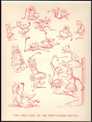Louis Wain Hockey Cats - The First Goal of the First Hockey Match 1905