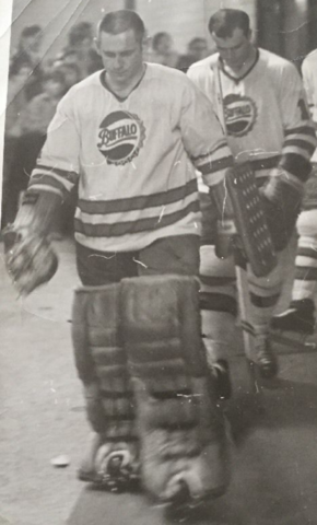 Gilles Villemure of the Buffalo Bisons walking to the ice 1970
