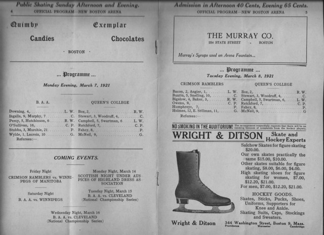 Queens vs Boston Athletic Assoc and Harvard Program 1921