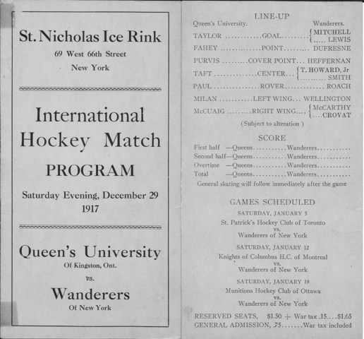 Queens vs Wanderers of New York - St. Nicholas Ice Rink - 1917
