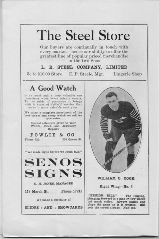 Soo Greyhounds 1922 Program - Bill Cook