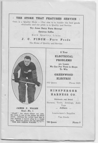 "Soo Greyhounds 1922 Program - James ""Flat"" Walsh"