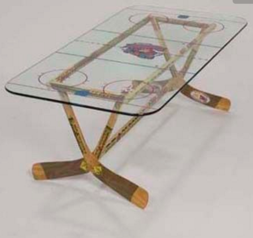 Hockey Stick Coffee Table With Rink Printed On Glass Top Hockeygods