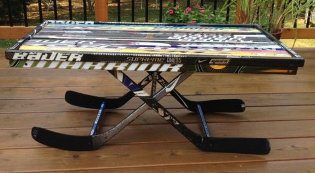 Hockey Stick Coffee Table with Stick Blades as Legs ...