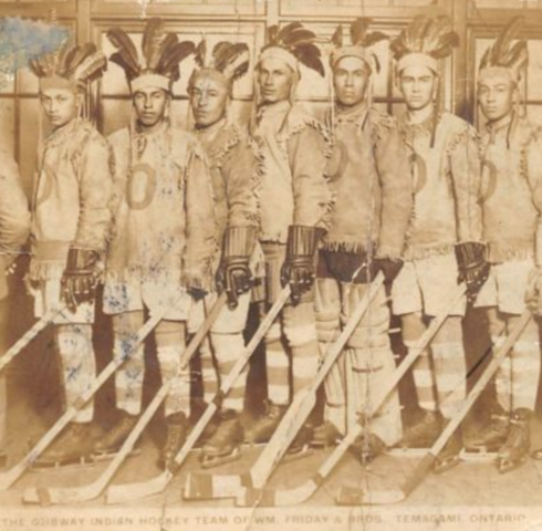 Ojibway Indian Hockey Team 1928 sponsored by William Friday & Brothers