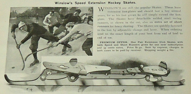 Winslow's Speed Extension Hockey Skates Ad 1899