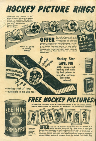 Bee Hive Hockey Picture Rings - Bee Hive Hockey Star Lapel Pin 1949