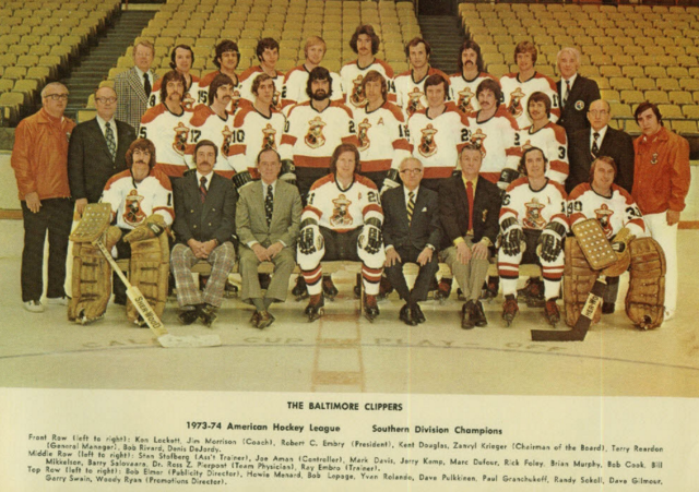 Baltimore Clippers 1974 American Hockey League Southern Division Champions