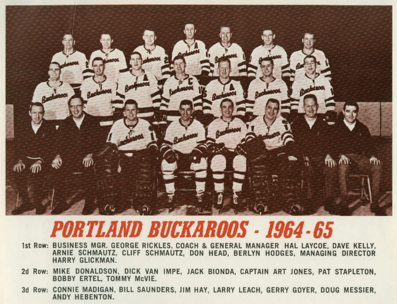 Portland Buckaroos 1964 Western Hockey League Hockeygods