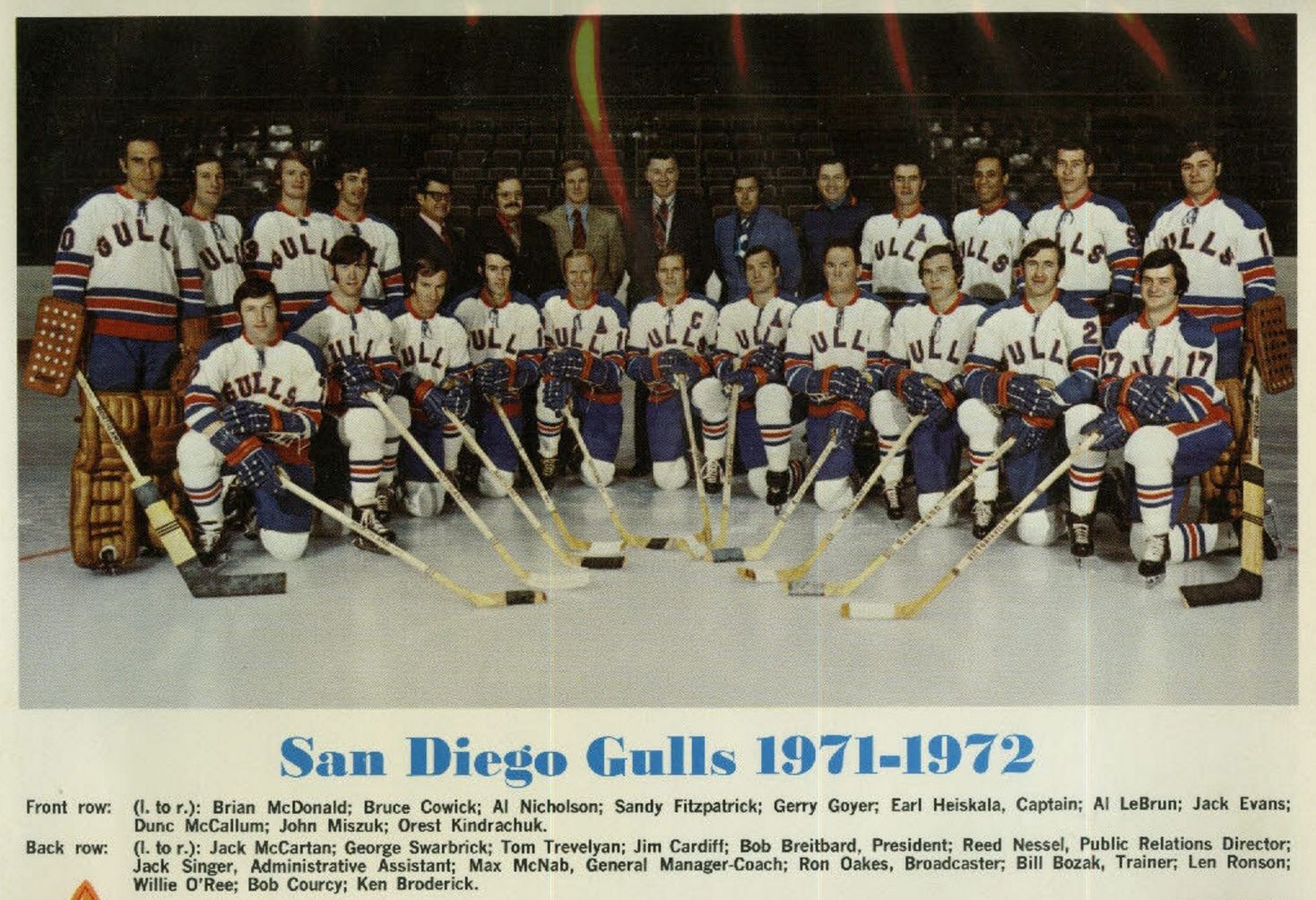 San Diego Gulls 1971 Western Hockey League Hockeygods