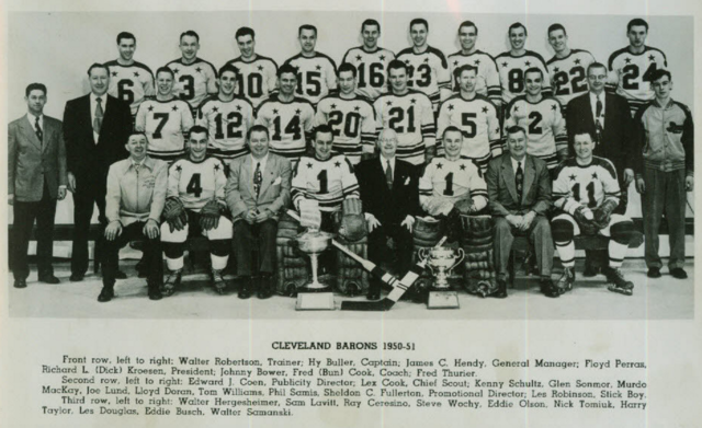 Cleveland Barons 1951 Calder Cup Champions American Hockey League / AHL