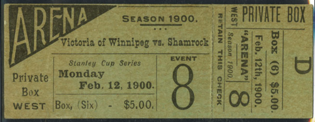 Stanley Cup Finals Ticket from 1900 Victorias of Winnipeg vs Montreal Shamrocks