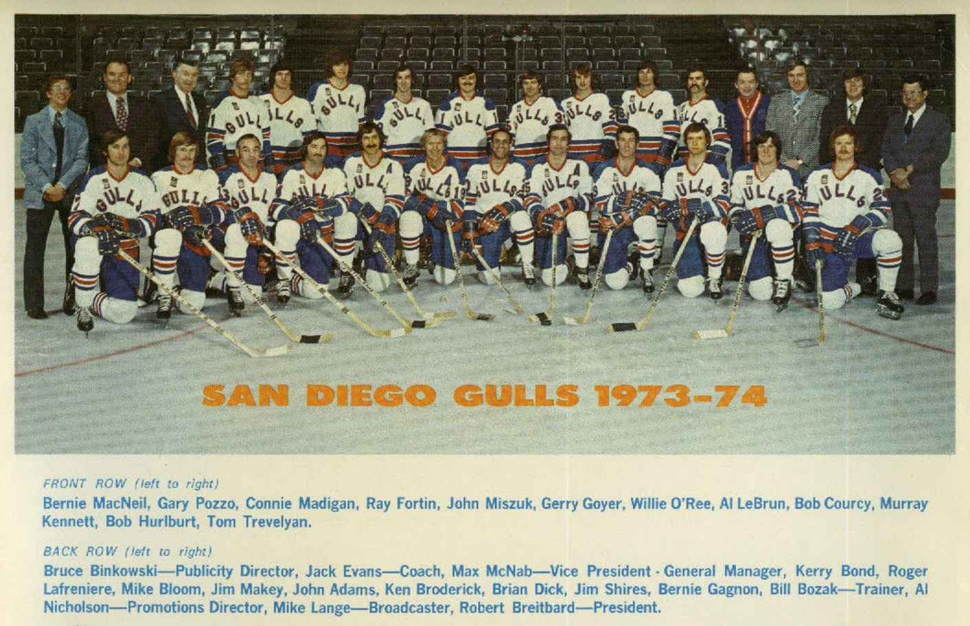 San Diego Gulls 1973 Western Hockey League Hockeygods