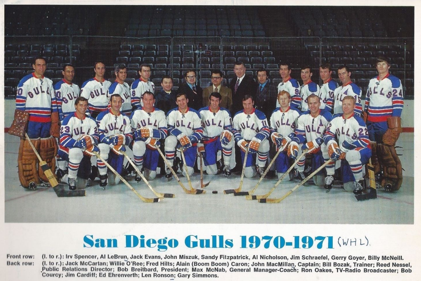 San Diego Gulls 1970 71 Western Hockey League Hockeygods