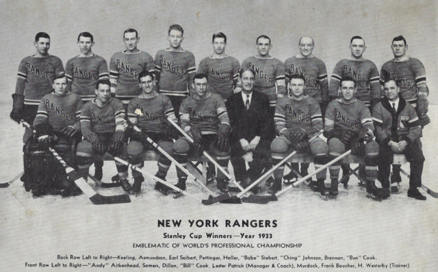 New York Rangers 1933 Stanley Cup Champions