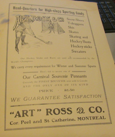 """ART"" ROSS & CO sporting goods ad 1909 Montreal Carnival Program"
