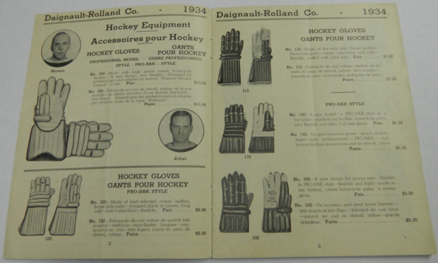 D & R Hockey Gloves - Daignault-Rolland Co Catalog 1934