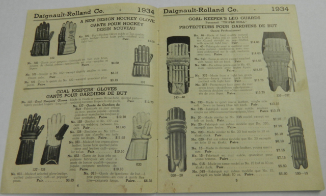 D & R Goalie Pads and Gloves - Daignault-Rolland Co Catalog 1934