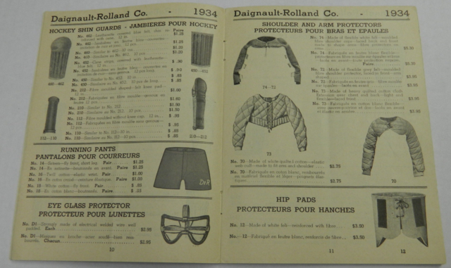 D & R Hockey Shin Guards & Shoulder Pads - Daignault-Rolland Co Catalog 1934