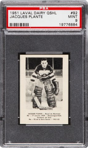 Jacques Plante Hockey Card 1951 Montreal Royals - Laval Dairy Card #92