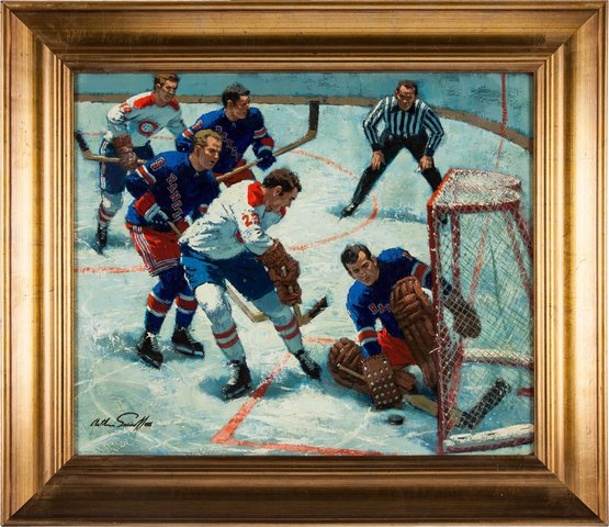 "Arthur Sarnoff Hockey Painting ""Great Save"" circa 1960"