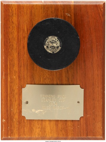 1934 Stanley Cup Winning Goal Puck, scored by Chicago Black Hawks Mush Marc