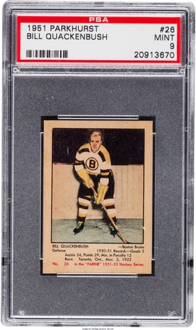 Bill Quackenbush Hockey Card 1951 Parkhurst