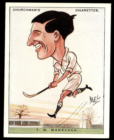 T.W. Mansergh Hockey Card No. 9 Churchman's Cigarettes 1928