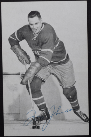 Tom Johnson Montreal Canadiens 1957 Autographed Photo