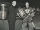 NHL President Clarence Campbell presents Vezina Trophy & Tray to Turk Broda 1948