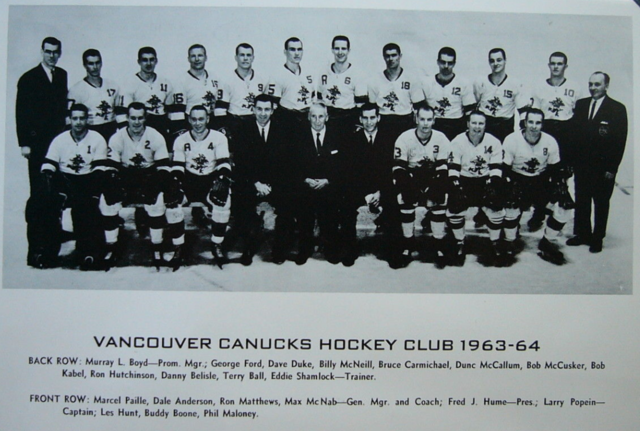 Vancouver Canucks Team Photo 1963