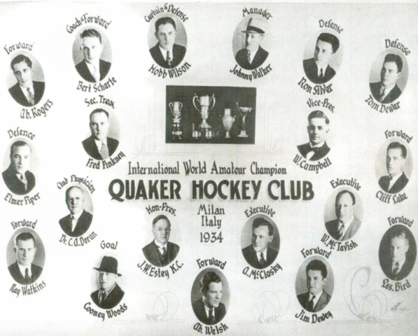 Quaker Hockey Club / Saskatoon Quakers 1934 World Ice Hockey Champions
