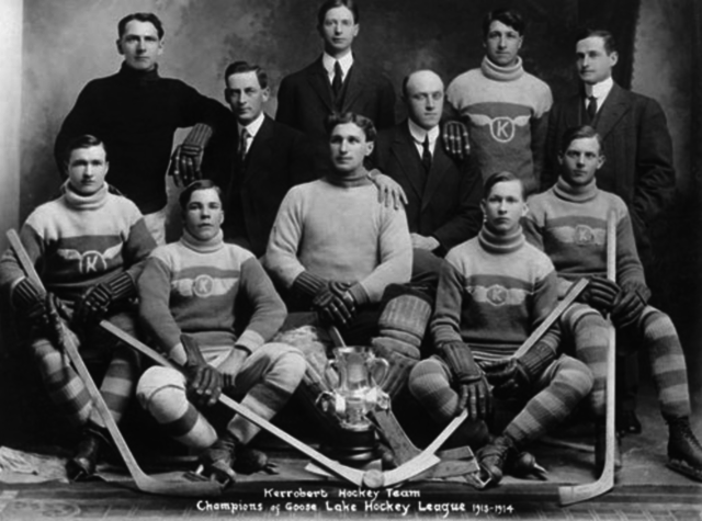 Kerrobert Hockey Team Goose Lake Hockey League champions 1913–14