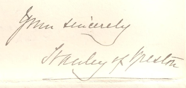 Stanley of Preston Autograph 1890 - Lord Stanley Autograph